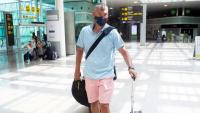 Saras Jasikevicius a l'aeroport del Prat