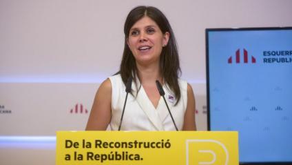 Marta Vilalta, portaveu d'Esquerra Republicana, dirigint-se ahir a la premsa