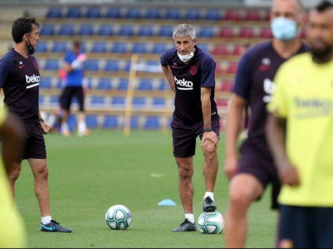 Avui Setién dirigirà el Barça per primera vegada en un derbi