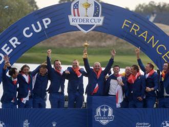 L'equip d'Europa celebra la victòria en l'última edició, a França 2018