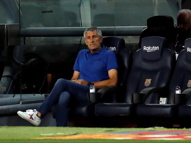 Setién, ahir al Camp Nou