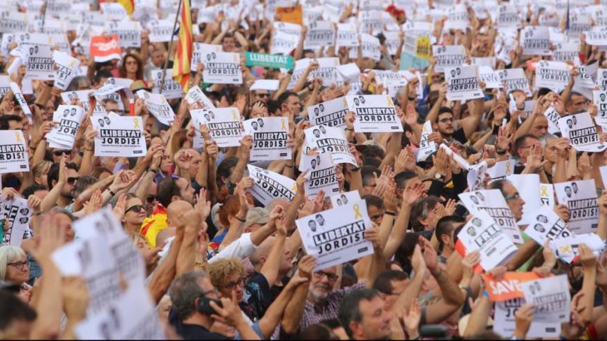 <b>Manifestació </b> per la llibertat dels Jordis feta el 21 d'octubre del 2017.