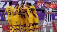 Els jugadors del Barça celebren el gol a Valladolid