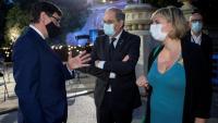 El ministre de Sanitat, Salvador Illa, el president del Govern, Quim Torra, i la consellera de Salut, Alba Vergés, en l'homenatge a les víctimes de la covid-19
