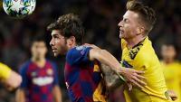 Sergi Roberto durant un partit de Champions League d'aquesta temporada, contra el Borussia Dortmund