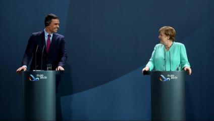 Pedro Sánchez i Angela Merkel, durant la roda de premsa que van oferir després de la seva trobada a Berlín