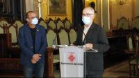 El Síndic de Greuges, Rafael Ribó, a l'Ajuntament de Lleida, acompanyat del paer en cap, Miquel Pueyo