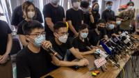 Activistes prodemocràcia en una conferència de premsa, a Hong Kong
