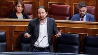 El vicepresident espanyol, Pablo Iglesias, intervé al Congrés dels Diputats