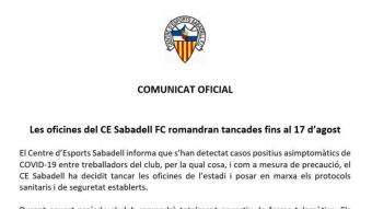 El comunicat que ha emès el club arlequinat fa uns minuts.