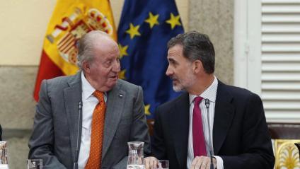 Joan Carles I i Felip VI,  <i> en la reunió del patronat de la Fundació Cotec el 14 de maig del 2019</i>