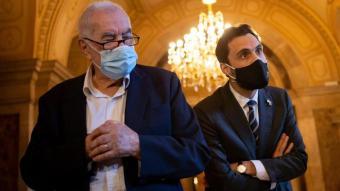 Ernest Maragall, diputat i president del grup d'ERC a l'Ajuntament de Barcelona, i Roger Torrent, president del Parlament