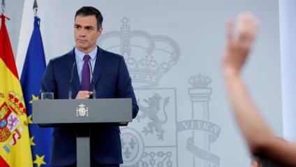 Pedro Sánchez, durant la roda de premsa d'aquest dimarts a la Moncloa