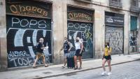 Uns turistes, aquesta setmana, al centre de Barcelona