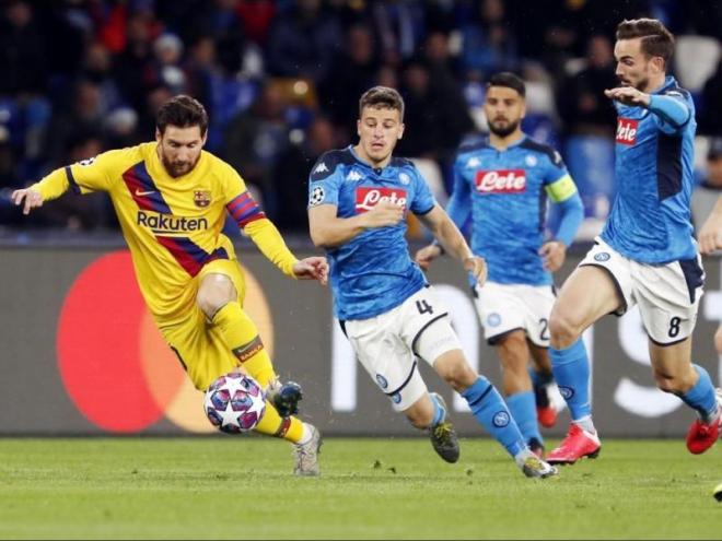 Messi, en el partit d'anada contra el Nàpols