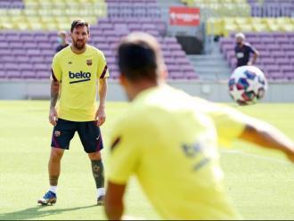 Messi en l'entrenament d'avui al Camp Nou