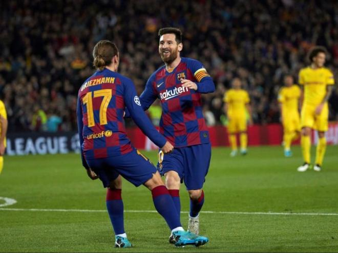 Messi i Griezmann celebrant el tercer gol contra el Borussia Dortmund d'aquesta temporada