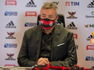 Domènec Torrent en la seva presentació com a nou entrenador del Flamengo.