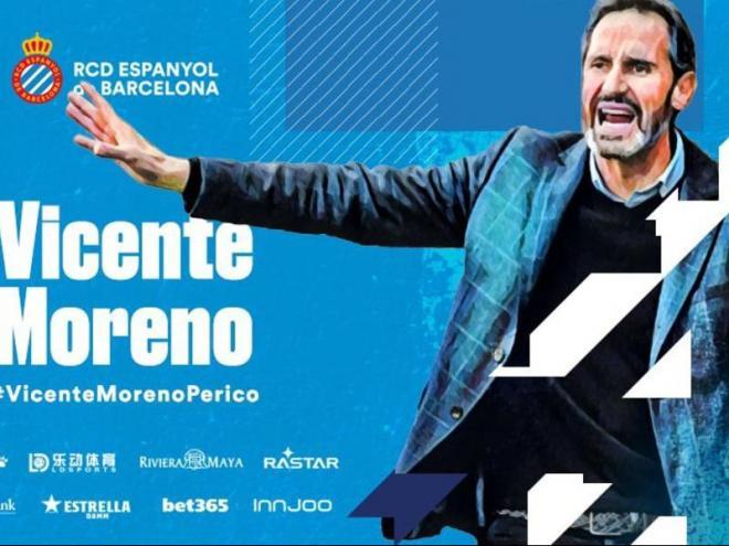 Vicente Moreno, nou entrenador de l'Espanyol per les properes tres temporades.