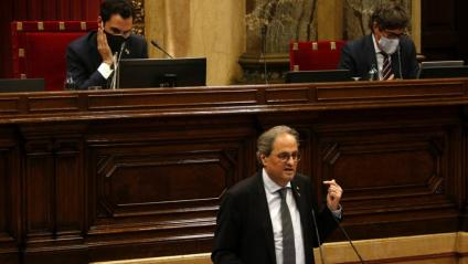 El president de la Generalitat, Quim Torra, intervé en el Parlament