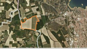 Situació de l'espai afectat pel projecte sobre una imatge aèria