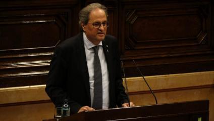 El president de la Generalitat durant una de les seves intervencions al ple d'avui sobre la monarquia