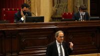 Els presidents del Parlament i de la Generalitat, en un moment del ple de divendres