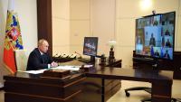 Putin, durant la videoconferència que va fer ahir amb el seu govern