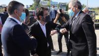 Quim Torra i el vicepresident, Pere Aragonès, saludant-se a la manera Covid-19 la setmana passada a Girona