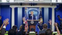Trump durant la darrera roda de premsa a la Casa Blanca