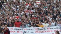 Multitudinària manifestació contra el president Lukashenko i la violència policial posterior a les eleccions del passat diumenge a Bielorússia