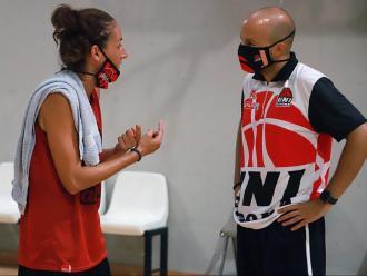 Laia Palau i Èric Surís, en l'entrenament d'ahir a la pista annexa de Fontajau