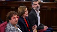 Jordi Cuixart, Carme Forcadell i Dolors Bassa, durant el judici