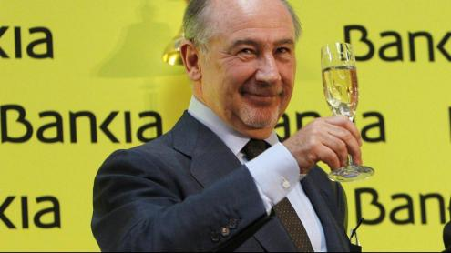 Rodrigo Rato, brindant el dia de l'estrena en la borsa de Bankia
