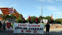 Manifestació dels treballadors de la fàbrica de Saint-Gobain
