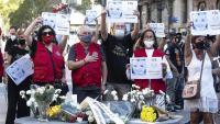 Acte en record de les víctimes de l'atemptat del 17-A, aquest mes d'agost passat