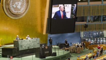 Trump parla per videoconferència en la  75a Assemblea General  de l'ONU