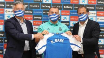 Keidi Baré en un moment de la seva presentació amb l'Espanyol.