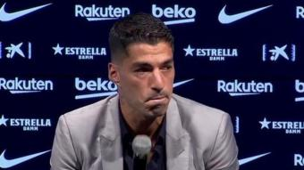 Suárez, amb llàgrimes als ulls, en l'acte d'aquest matí