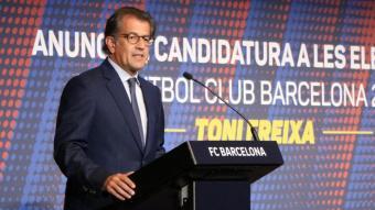 Toni Freixa, presentant la seva candidatura a les eleccions a la presidència del Barça