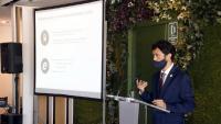 El conseller de Territori, durant la presentació del nou model de Rodalies de Lleida