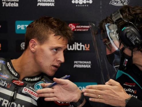 Quartararo en el seu box en el circuit Barcelona-Catalunya