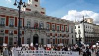 Concentració ahir a la Puerta del Sol de Madrid contra les restriccions de Díaz Ayuso