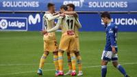 Els jugadors de l'Espanyol celebren el segon gol de Raúl de Tomás