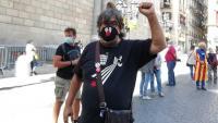 Jordi Pesarrodona a la plaça de Sant Jaume donant suport al president Torra un cop coneguda la seva inhabilitació