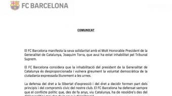 El comunicat del Barça