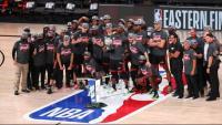 Els Heat celebrant el títol de la Conferència Est
