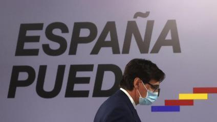 Salvador Illa, responsable de Sanitat, dirigint-se a la roda de premsa d'ahir al seu ministeri