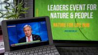 El secretari general de l'ONU, Antonio Guterres , intervenint en una videoconferència