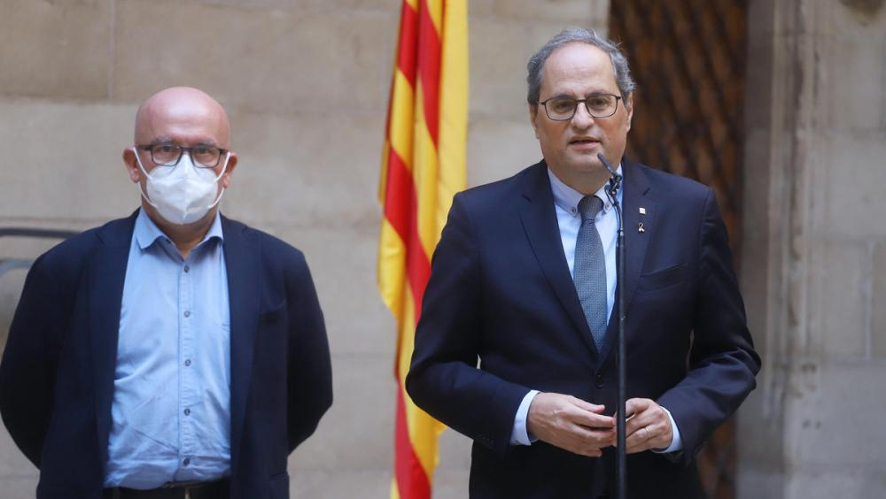 El president de la Generalitat, Quim Torra, amb el seu advocat Gonzalo Boye